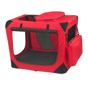 Caja transportadora Roja para perros y gatos, con malla y bolsillos