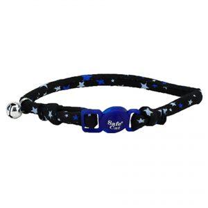 COASTAL SAFE CAT ROUND COLLAR BLACK STARS